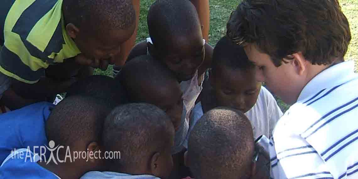 Brendan with the Sizanani Centre children