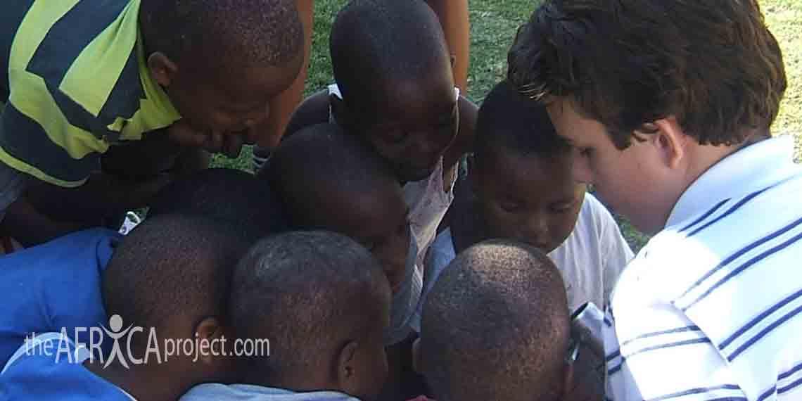 Brendan with the Sizanani Centre children
