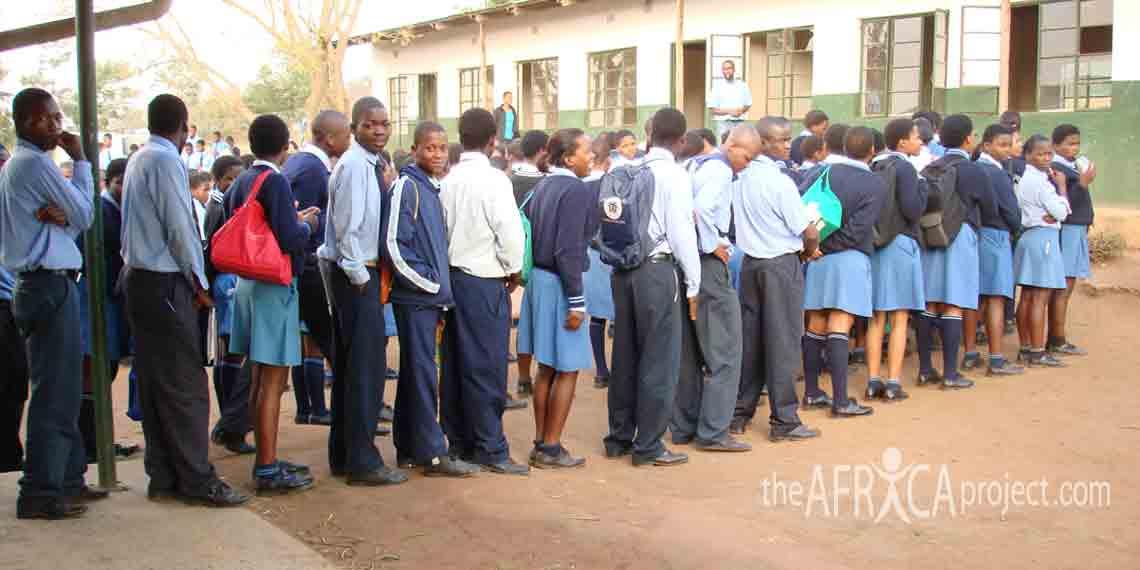 Velangaye students line up before school starts 2006